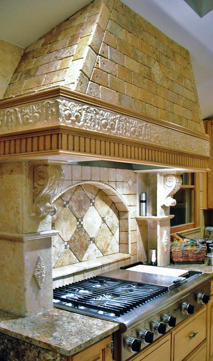 Installed Stone Tiled Kitchen Range Hood
